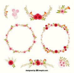 Floral Decoration hand painted floral decoration pack free vector | invitations