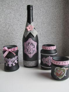 Flessen/potjes met gesso en acrylverf
