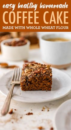 This vegan coffee cake is made with coconut milk yogurt, whole wheat flour and coconut sugar. It's lightened up, but still absolutely delicious. Healthy Thanksgiving Recipes, Good Healthy Recipes, Healthy Treats, Holiday Recipes, Coconut Milk Yogurt, Coconut Sugar, Vegan Coffee Cakes, Easy Eat, Bird Food