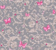 Versace Ladybird Trail Grey Wallpaper main image