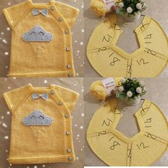 Today is day and I share my beloved vest Bugün . : Today is day and I share my beloved vest Bugün … Baby Knitting Patterns, Baby Booties Knitting Pattern, Baby Clothes Patterns, Baby Patterns, Baby Boy Cardigan, Knit Baby Dress, Pull Bebe, Baby Sweaters, Knitted Blankets