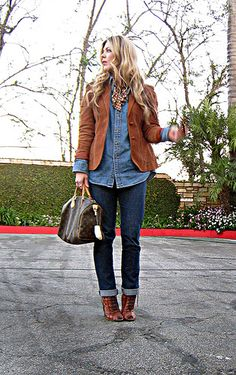 denim on denim look+cuffed jeans and denim button down+vintage corduroy blazer+lace up ankle boots+louis vuitton speedy+sharp