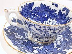 Coalport Tea Cup and Saucer, Blue White Ware, English Bone China Tea Cups, Antique Teacups, Vintage Tea Party, Tea Cups Vintage by AprilsLuxuries on Etsy https://www.etsy.com/au/listing/523404045/coalport-tea-cup-and-saucer-blue-white