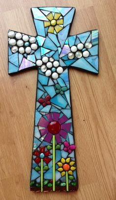 Sun and Sky Cross from www.tinypiecesmakeart.com or www.facebook.com/TinyPiecesMakeArt Tile Art, Mosaic Art, Mosaic Glass, Mosaic Tiles, Paper Mosaic, Fused Glass, Stained Glass, Mosaic Crafts, Mosaic Projects