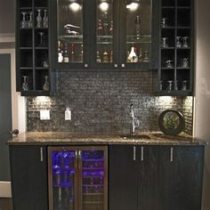 Home Wet Bar Design w/ glass backsplash.not the style/colors so much as the design of the actual space Wet Bar Basement, Basement Bar Designs, Basement Ideas, Rustic Basement, Modern Basement, Industrial Basement, Basement Bathroom, Bathroom Plumbing, Basement Kitchen