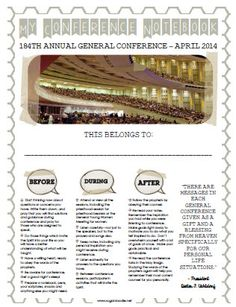 Sugardoodle's April 2014 General Conference Packet and Resources