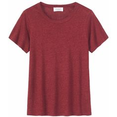 Toast Linen Short Sleeve Tee ($69) ❤ liked on Polyvore featuring tops, t-shirts, claret, long tee, jersey t shirt, cap sleeve tee, jersey tee and red tee