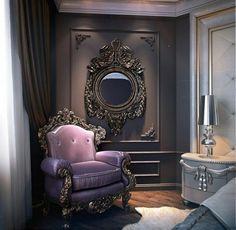 elegant armchair Baroque golden frame italian design