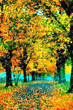 Autumn Road Pointillism Painting By Bob Smerecki Stippling Art, Autumn Scenes, Dot Art Painting, Beginner Painting, Marker Art, Painting Lessons, Pictures To Paint, Landscape Art, Canvas Art