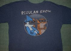 t-shirt REGULAR SHOW Mordecai Rigby blue jay racoon Cartoon Network XL adult #CartoonNetwork #GraphicTee