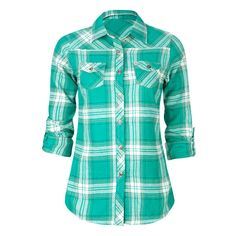 Designer Clothes, Shoes & Bags for Women Green Flannel Shirt, Flannel Shirt Outfit, Sweater Shirt, Flannel Shirts, Flannels, Modest Outfits, Modest Fashion, Cute Outfits, Country Shirts
