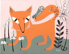 Woodland Fox and Owl Art Print  5x7 Pink and Orange Folk by 3crows, $9.00