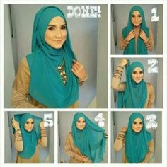 How beautiful is this green turquoise teal kind of color ! There is so many ways to mix teal and turquoise garments and incorporate them into various looks! Keep it versatile, timeless and elegant by combining turquoise with ladylike and… Tutorial Hijab Pesta, Simple Hijab Tutorial, Pashmina Hijab Tutorial, Hijab Style Tutorial, Hijab Turban Style, Hijab Outfit, Hijab Wedding Dresses, Hijab Bride, Modele Hijab