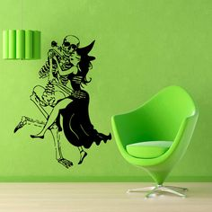 Halloween Wall Decals Woman Witch With Broom Dance With Skeleton Vinyl Sticker Interior Design Living Room Art Kids Nursery Room Decor by WallDecalswithLove on Etsy Nursery Room Decor, Home Decor Wall Art, Girl Nursery, Vinyl Art, Vinyl Wall Decals, Halloween Vinyl, Kids Room Art, Art Kids, Room Stickers