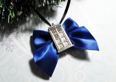 Police Box Christmas Ornament, blue bow, inspired by Doctor Who TARDIS - product images  of
