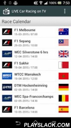 LIVE Car Racing On TV  Android App - playslack.com ,  This App gives an overview of car races that will be broadcast LIVE on TV. The race calendar includes car races that will be broadcast on free-to-air television channels in Central European countries,