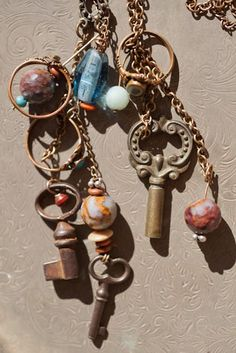 authentic antique keys, rings & semiprecious stones handmade into necklaces by Heather Ross
