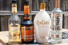 oz RumChata, 1 of vanilla vodka, 1 oz banana liqueur, 1 oz butterscotch schnapps] Dessert Drinks, Bar Drinks, Cocktail Drinks, Yummy Drinks, Whiskey Drinks, Drink Menu, Desserts, Rumchata Drinks, Rumchata Recipes