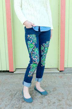 Wear The Canvas: Patchwork Jeans DIY