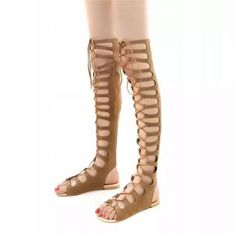 Lsewilly Roman Gladiator Bandage Sandals Women Over Knee flat sandalias botas femininas Women Shoes Girls Summer hollow Outfit Accessories From Touchy Style. Girls Heels, Girls Sandals, Flat Sandals, Flat Shoes, Casual Shoes, Women's Casual, Sandals For Sale, Fashion Heels, Lace Up Heels