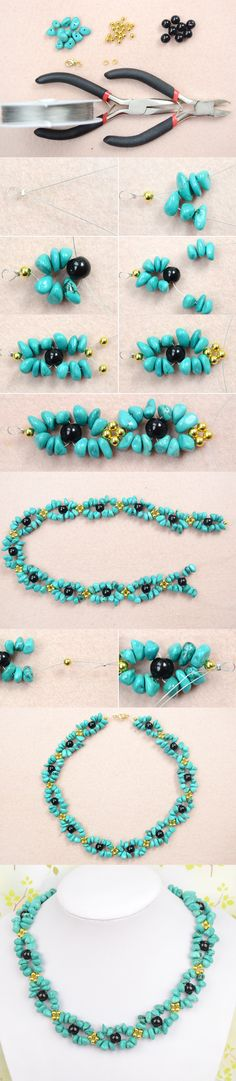 Tutorial on How to Make Beautiful Turquoise Necklace Design with Black and Gold Beads from LC.Pandahall.com