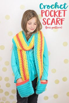 This Free Crochet Pocket Scarf Pattern will keep you warm this winter and it's a perfect project for beginners since it's all straight lines of double and single crochet.