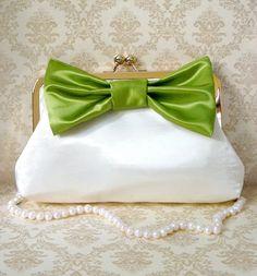 Romantic Clutch Purse with Big Bow Custom by tbtcwedding on Etsy, $75.00