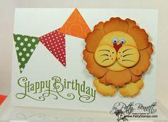 Punch art lion child birthday card