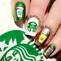 Trendy Starbucks Nails via ProHairTools.com