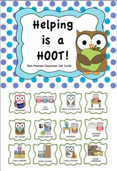 FREEBIE: Classroom Jobs Owl Theme Owl Classroom Decor, Classroom Jobs, 3rd Grade Classroom, Classroom Organisation, Kindergarten Classroom, Future Classroom, Classroom Management, Classroom Teacher, Behavior Management