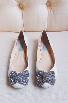 #Blue by @betsyjohnson #WeddingShoes #BowFlats