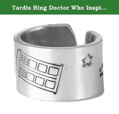 Tardis Ring Doctor Who Inspired Adjustable Aluminum Ring. Doctor Who inspired Tardis aluminum ring. The rings are made out of Pure 1100 Aluminum, which is food safe and does not tarnish. They contain no Zinc or Magnesium which are often found in common aluminum and can cause skin reactions. This also means it doesn't contain the properties of other metals that might tarnish and/or turn your skin green. Please note that due to the nature of hand stamping, every item varies slightly from…
