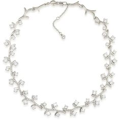 Carolee Prospect Park Vine Choker Necklace ($125) ❤ liked on Polyvore featuring jewelry, necklaces, choker, accessories, silver, carolee necklace, choker jewelry, pave jewelry, choker necklace and sparkly necklace