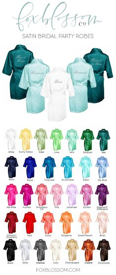 Gorgeous satin robes with sparkling rhinestones | A bridesmaid gift your girls will love!  Wear for getting ready on your wedding morning.  shop at www.foxblossom.com