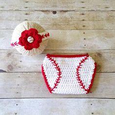 Crochet Baby Baseball Headband Hair Accessory Girl Flower Red Diaper Cover Sports Set Newborn Infant Photography Photo Prop Shower Gift