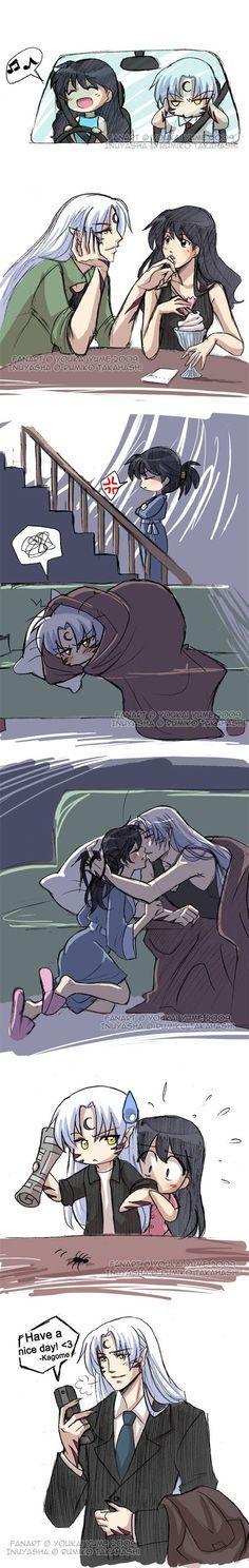 what would happen if kagome like sesshomaru instead of inuyasha. Kuroko, Rin And Sesshomaru, Inuyasha Love, Kamigami No Asobi, Mini Comic, I Love Anime, Manga Comics, Fan Fiction, Nocturne