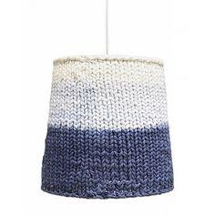HK-living Hanglamp blauw/creme gebreid katoen Ø26x25cm