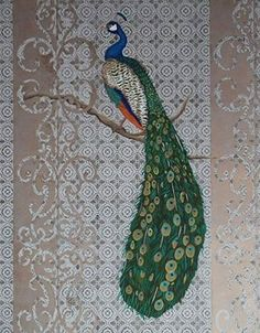 Peacock stencil against Modello masking stencils by Julie Young.