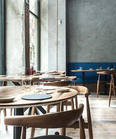 Amelia restaurant by Sestini & Corti, San Sebastian – Spain Modern Restaurant, Restaurant Design, Restaurant Bar, Amelie, Tulum, San Sebastian Spain, Wall Bench, Long Walls, City Restaurants