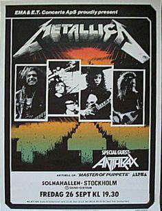 METALLICA | 26 september, 1986 | Stockholm, Solnahallen | Special Guest: Anthrax |