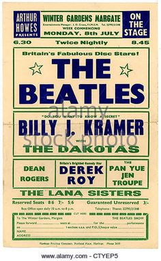000660 - Beatles Concert Handbill from the Winter Gardens in Margate on July 1963 - Stock Image Beatles Poster, Les Beatles, Beatles Art, Tour Posters, Theatre Posters, Music Posters, Band Posters, Vintage Concert Posters, Music Genius
