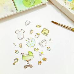 """33 Likes, 9 Comments - ARE (@anyonetea) on Instagram: """"Today's watercolor doodle.. Inspired by the baby in the belly @pribadiveronica @mariayw hahaha…"""""""