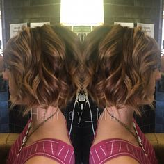 Hand painted Balayage on an asymmetrical shaved undercut bob by hairby_Mari