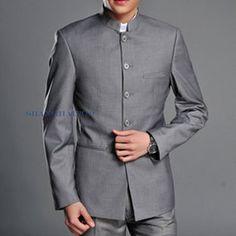 Men Single Breasted Suit Mao Oriental Style Tunic Jacket Blazer Slim Gray White   eBay