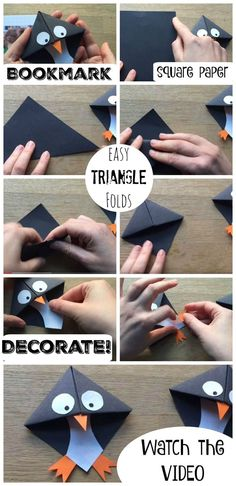 Super cute Penguin Bookmarks, these are super fun and EASY to make! And a great … Super cute Penguin Bookmarks, these are super fun and EASY to make! And a great introduction to Origami for kids. These Penguin Bookmarks make a nice gift too! Bookmark Craft, Diy Bookmarks, Corner Bookmarks, How To Make Bookmarks, Bookmark Making, Crochet Bookmarks, Easy Crafts, Diy And Crafts, Crafts For Kids