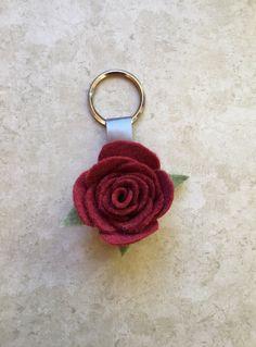 "A red felt rose keychain. 1 1/2"" Fake Flower, Felt Flower, Felt Keychain, Handmade Keychain, Felt Leaves"