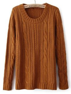 Burnt orange Long Sleeve Elbow Patch Cable Knit Sweater