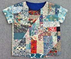 Use fabric scraps to make a patchwork top. DIY Liberty London Patchwork Top by Mad For Fabric #libertyfabric #libertylondon #sewing