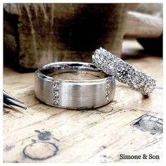 Simply stunning!  These rings are one of our favorites - the band on the right is from the video  we posted yesterday. #stunning #diamonds #gettingmarried #orangecounty #simoneandson #art #halo #halorings