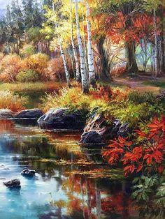 Watercolor Landscape, Landscape Art, Landscape Paintings, Landscape Photography, Romantic Paintings, Beautiful Paintings, Beautiful Landscapes, Acrylic Painting Trees, Autumn Painting